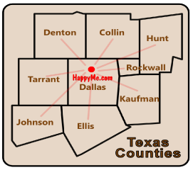 HappyMe.com Texas counties served